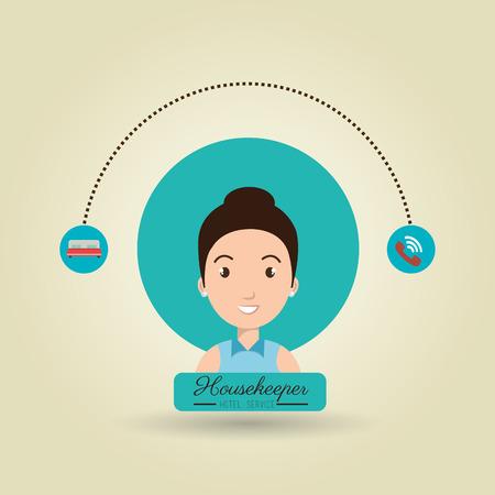 ama de llaves: servicio de la mujer ama de casa icono de la ilustraci�n vectorial de dise�o