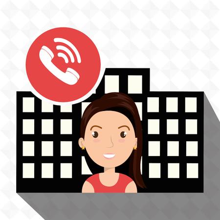 woman hotel service building vector illustration design