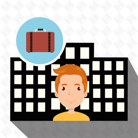 swimming pool home: man hotel service building vector illustration design Illustration