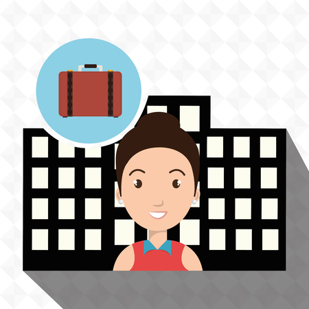 swimming pool home: woman hotel service building vector illustration design
