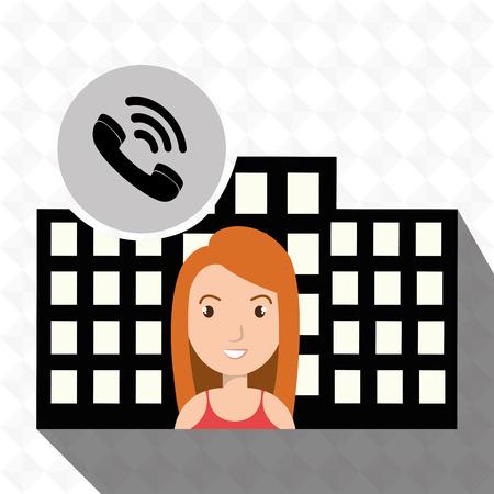 hotel building: woman hotel service building vector illustration design