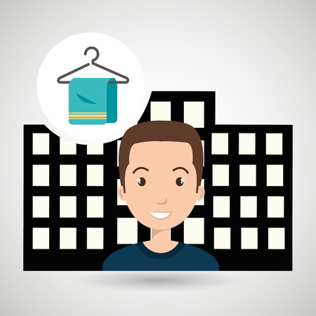 hotel building: man hotel service building vector illustration design Illustration