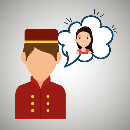 perspectiva lineal: cliente de la mujer hotel icono ilustración vectorial de diseño Vectores