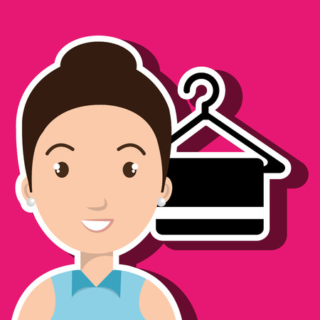 woman client hotel icon vector illustration design