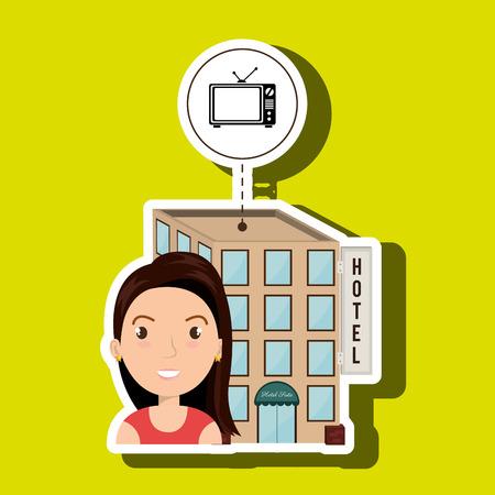 hotel building: woman hotel building service vector illustration design Illustration