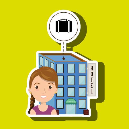 waiting room: woman hotel building service vector illustration design Illustration