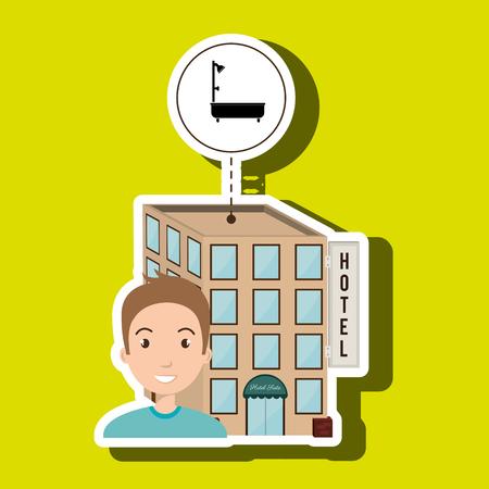 healthcare visitor: man hotel building service vector illustration design