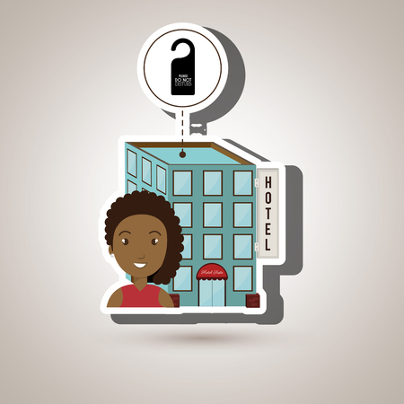 visitador medico: woman hotel building service vector illustration design Vectores