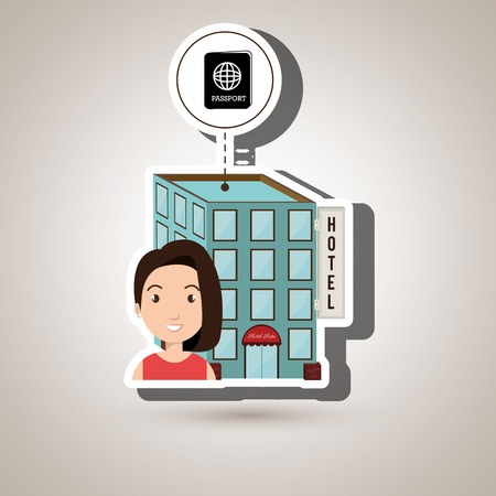 healthcare visitor: woman hotel building service vector illustration design Illustration