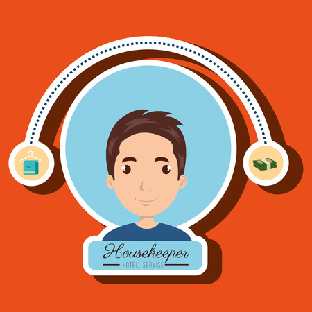 housekeeper: housekeeper man service icon vector illustration design