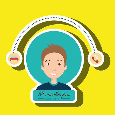 housekeeper: housekeeper man service icon vector illustration design