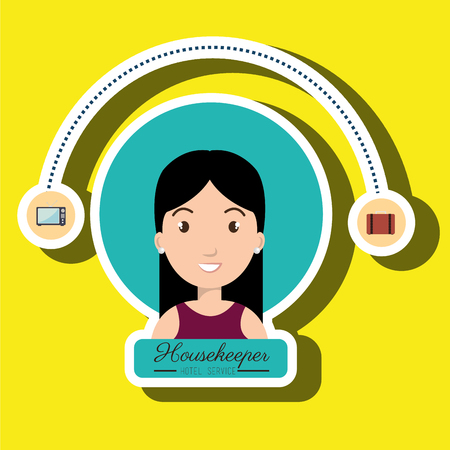 housekeeper: housekeeper woman service icon vector illustration design
