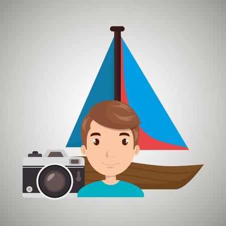 wanderlust: man camera tickets travel vector illustration  design