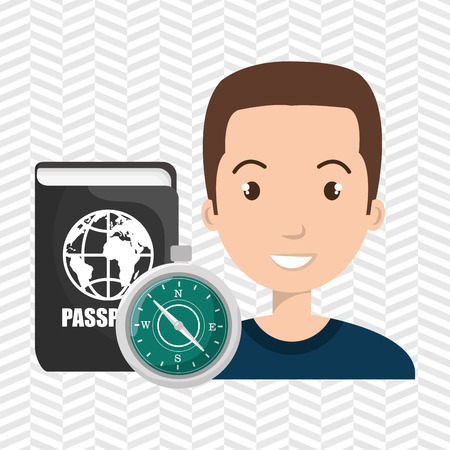 national identity: man compass passport travel vector illustration  design