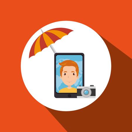 umbrella man camera technology vector illustration  design Illustration