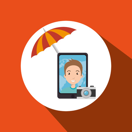 memory card: umbrella man camera technology vector illustration  design Illustration