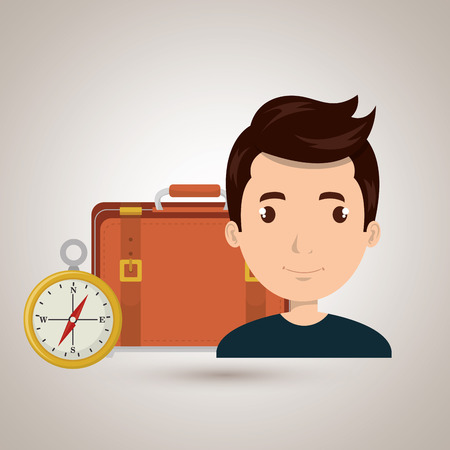 man bag compass travel vector illustration  design