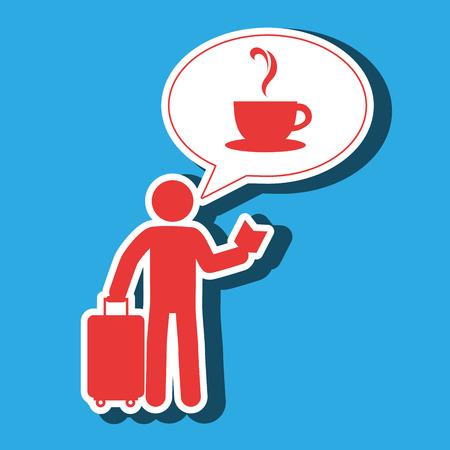 traveler silhouette suitcase map vector illustration  design Illustration