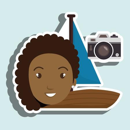 woman camera tickets travel vector illustration  design