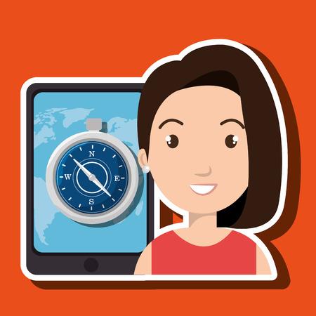woman smartphone: woman smartphone travel vector illustration design