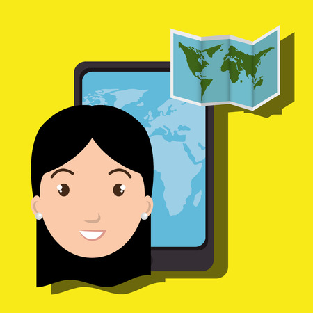 woman smartphone: woman smartphone travel vector illustration design