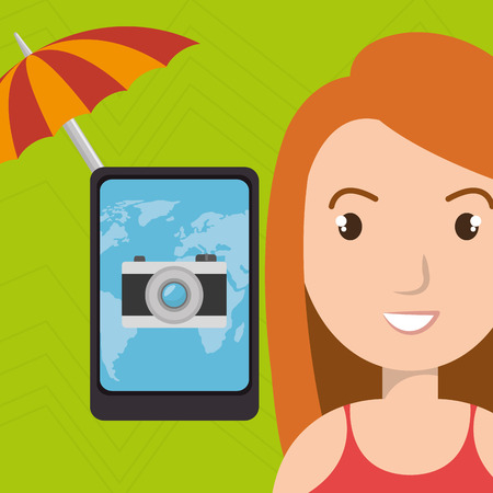 umbrella woman camera technology vector illustration  design