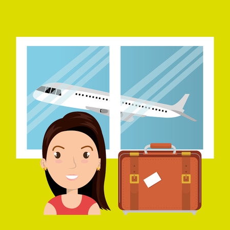 femme valise: woman suitcase airplane window vector illustration design Illustration