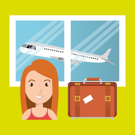 mujer con maleta: maleta mujer ventana del avi�n ilustraci�n vectorial de dise�o