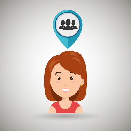 global positioning system: woman pin travel location vector illustration design