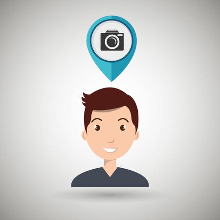 man pin travel location vector illustration design Illustration