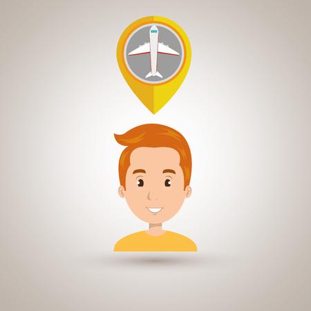 global positioning system: man pin travel location vector illustration design Illustration