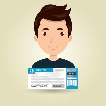first class: man ticket travel icon vector illustration design