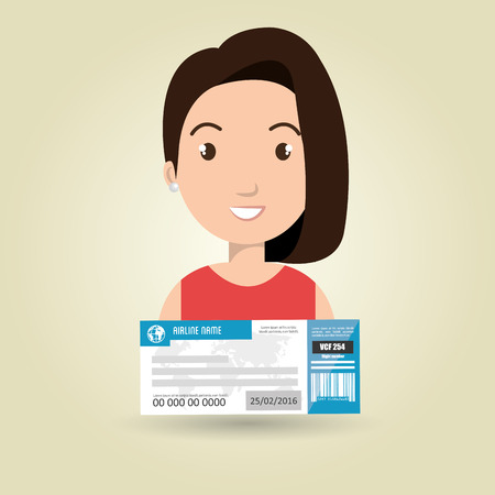 customs official: woman ticket travel icon vector illustration design