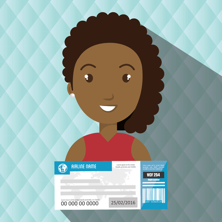 woman ticket travel icon vector illustration design
