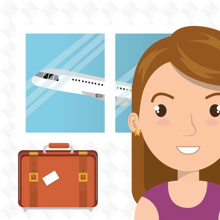 femme valise: femme valise conception fenêtre de l'avion d'illustration de vecteur Illustration