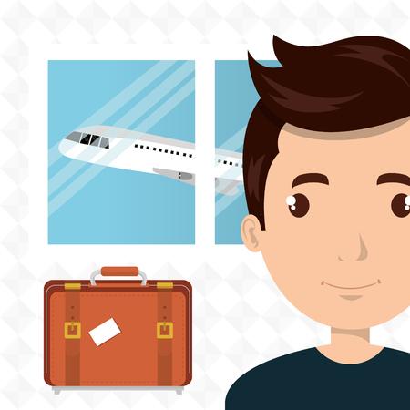 airplane window: man suitcase airplane window vector illustration design