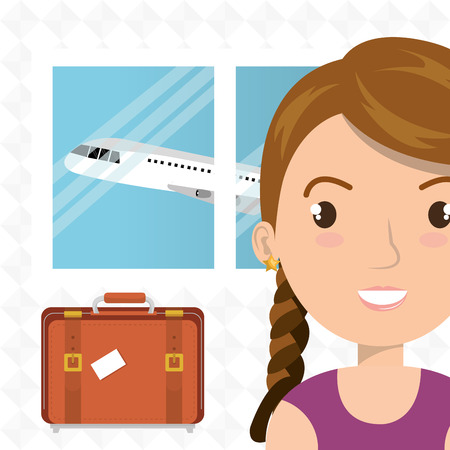 femme avec valise: woman suitcase airplane window vector illustration design Illustration