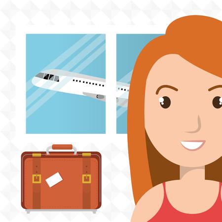 mujer con maleta: maleta mujer ventana del avión ilustración vectorial de diseño