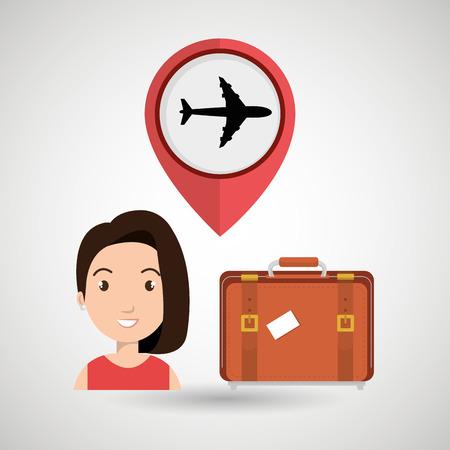 femme valise: woman suitcase airplane window vector illustration design Illustration