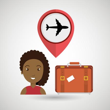 airplane window: woman suitcase airplane window vector illustration design Illustration