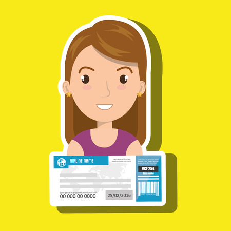 first class: woman ticket travel icon vector illustration design