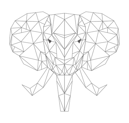 elephant head: elephant head low poly isolated icon vector illustration design