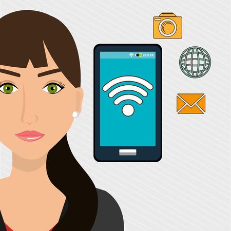unrecognizable: woman smartphone app vector illustration graphic