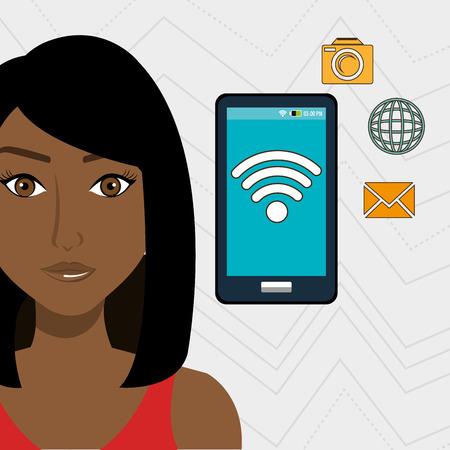 unrecognizable: woman smartphone app global vector illustration graphic