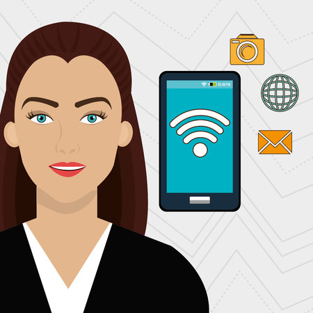 woman smartphone: woman smartphone app global vector illustration graphic