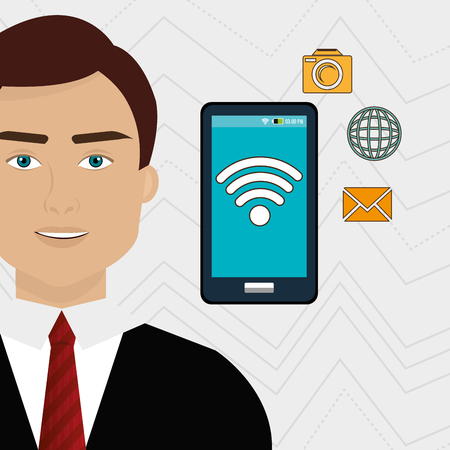 unrecognizable: man smartphone app global vector illustration graphic Illustration