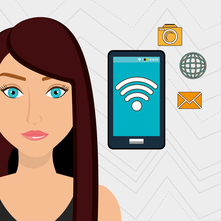 woman smartphone: woman smartphone app global vector illustration graphic