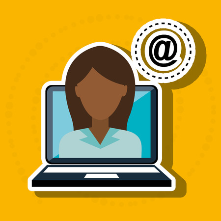 woman laptop: silhouette woman laptop apps vector illustration graphic