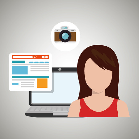 woman with laptop: woman laptop email document vector illustration design
