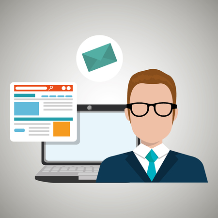man with laptop: man laptop email document vector illustration design Illustration